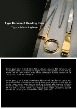 Surgical Instruments In A Dark Colors Word Template, Cover Page, 05867, Medical — PoweredTemplate.com