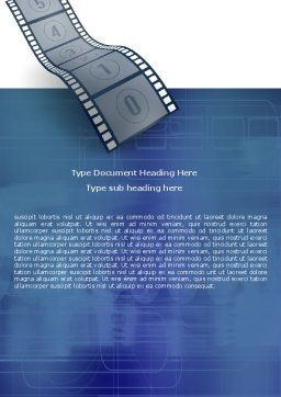 Film Strip In Blue Color Word Template, Cover Page, 05878, Careers/Industry — PoweredTemplate.com