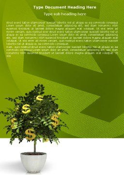 Money Tree In Pot Word Template Cover Page