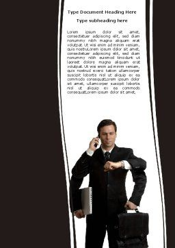 Busy Man Word Template, Cover Page, 05882, Business — PoweredTemplate.com