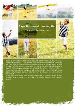Outdoor Play Word Template, Cover Page, 05889, People — PoweredTemplate.com