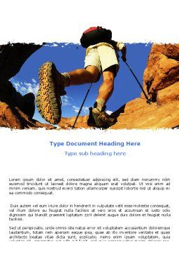 Mountain Hiking Word Template, Cover Page, 05905, Sports — PoweredTemplate.com