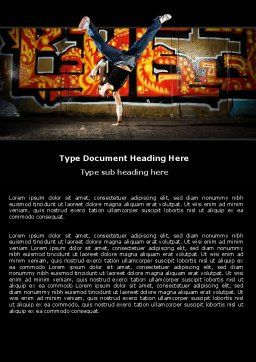 Break Dance Word Template, Cover Page, 05913, People — PoweredTemplate.com