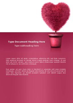 Fuchsia Heart Word Template, Cover Page, 05917, Careers/Industry — PoweredTemplate.com