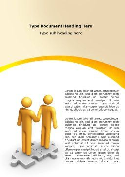 Handshaking Word Template, Cover Page, 05920, Business Concepts — PoweredTemplate.com