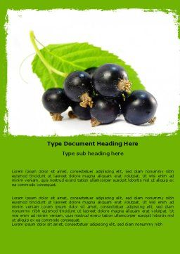 Blackcurrant Word Template, Cover Page, 05931, Agriculture and Animals — PoweredTemplate.com