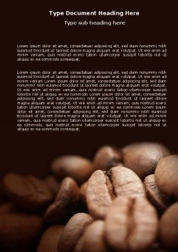 Coffee Beans In Brown Color Word Template, Cover Page, 05941, Food & Beverage — PoweredTemplate.com