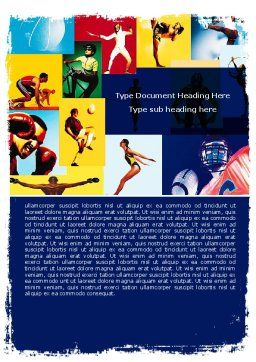 Summer Sport Word Template, Cover Page, 05959, Sports — PoweredTemplate.com