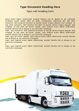Truck Tractor Word Template, Cover Page, 05987, Cars/Transportation — PoweredTemplate.com