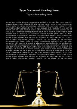 Justice Symbol Word Template, Cover Page, 05997, Legal — PoweredTemplate.com
