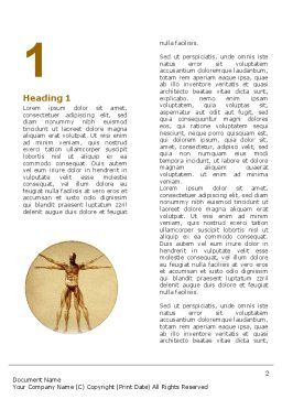 Vitruvian Man Word Template, First Inner Page, 06014, Medical — PoweredTemplate.com