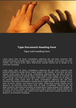 Reaching Hand Word Template, Cover Page, 06017, Medical — PoweredTemplate.com