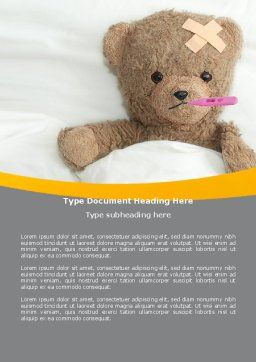 Wounded Teddy Bear Word Template, Cover Page, 06030, Medical — PoweredTemplate.com