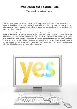 Yes Computer Word Template, Cover Page, 06031, Technology, Science & Computers — PoweredTemplate.com