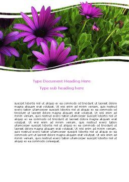 Violet Flowers Word Template, Cover Page, 06051, Nature & Environment — PoweredTemplate.com