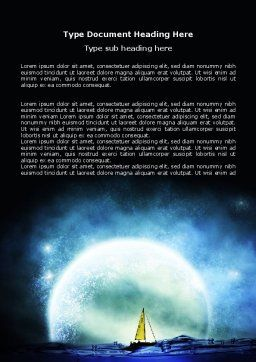 Moonlit Word Template, Cover Page, 06075, Nature & Environment — PoweredTemplate.com