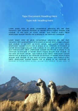 Llama Word Template, Cover Page, 06079, Agriculture and Animals — PoweredTemplate.com