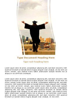 Graduator On The Roof Word Template, Cover Page, 06082, Education & Training — PoweredTemplate.com