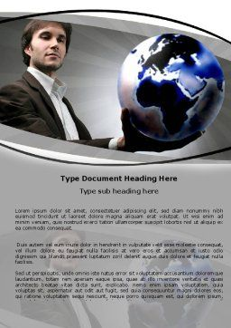 Holding Globe Word Template, Cover Page, 06091, Business Concepts — PoweredTemplate.com