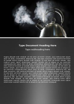 Boiling Kettle At The Kitchen Word Template Cover Page