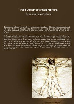 Vitruvian Man By Leonardo da Vinci Word Template, Cover Page, 06107, Education & Training — PoweredTemplate.com