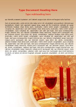 Candles and Wine Word Template, Cover Page, 06112, Holiday/Special Occasion — PoweredTemplate.com