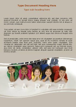 Children of Earth Word Template, Cover Page, 06126, Education & Training — PoweredTemplate.com