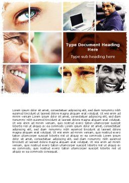Eyes Word Template, Cover Page, 06140, People — PoweredTemplate.com
