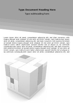 Assembled Cube Word Template, Cover Page, 06157, Business Concepts — PoweredTemplate.com