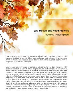 Yellow Oak Leaves Word Template, Cover Page, 06189, Nature & Environment — PoweredTemplate.com