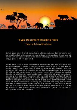 Savanna Sunset Word Template, Cover Page, 06202, Nature & Environment — PoweredTemplate.com