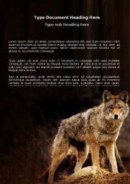 Coyote Word Template, Cover Page, 06203, Agriculture and Animals — PoweredTemplate.com