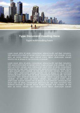 City Beach Word Template, Cover Page, 06204, Construction — PoweredTemplate.com