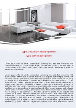 Interior Design Of Living Room Word Template Cover Page