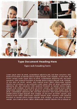 Musical School Word Template Cover Page