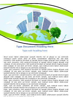 Green City Word Template, Cover Page, 06283, Nature & Environment — PoweredTemplate.com