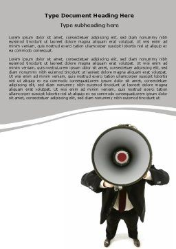 Speaker With Megaphone Word Template, Cover Page, 06285, Careers/Industry — PoweredTemplate.com