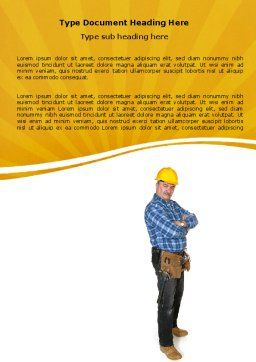 Builder With A Tool Belt Word Template Cover Page