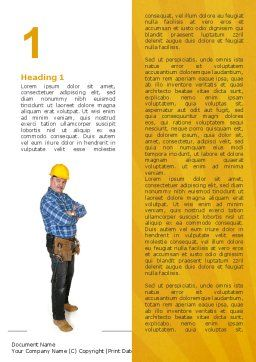 Builder With A Tool Belt Word Template First Inner Page