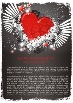 Flying Heart Word Template, Cover Page, 06344, Holiday/Special Occasion — PoweredTemplate.com