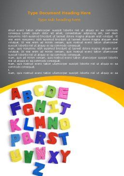 Childish Alphabet Word Template, Cover Page, 06356, Education & Training — PoweredTemplate.com