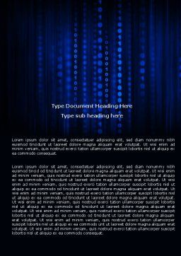 Blue Binary Code Word Template, Cover Page, 06362, Technology, Science & Computers — PoweredTemplate.com