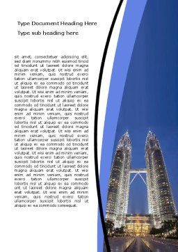 Petronas Twin Towers Word Template, Cover Page, 06375, Construction — PoweredTemplate.com