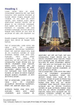 Petronas Twin Towers Word Template, First Inner Page, 06375, Construction — PoweredTemplate.com
