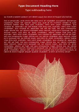 Red Dry Leaves Word Template Cover Page