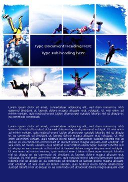 Sky Diving Word Template, Cover Page, 06404, Sports — PoweredTemplate.com