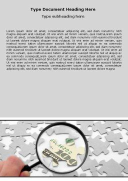Dollar Puzzle Word Template, Cover Page, 06417, Financial/Accounting — PoweredTemplate.com