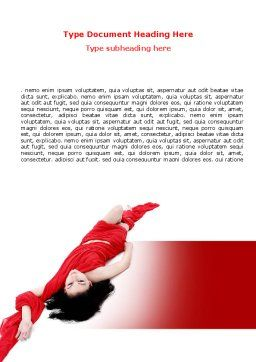 Red Dress Fashion Girl Word Template Cover Page