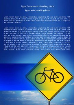 Yellow Bicycle Road Word Template, Cover Page, 06426, Cars/Transportation — PoweredTemplate.com