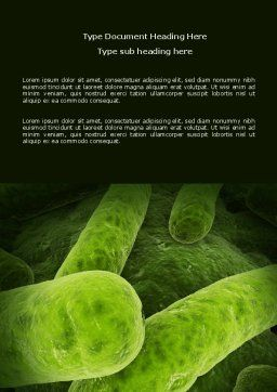 Bacilli In Green Color Word Template, Cover Page, 06436, Medical — PoweredTemplate.com